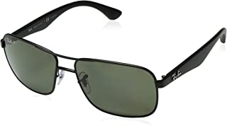 Ray-Ban Polarized RB3516 Sunglasses - Matte Black Frame/Green Lens
