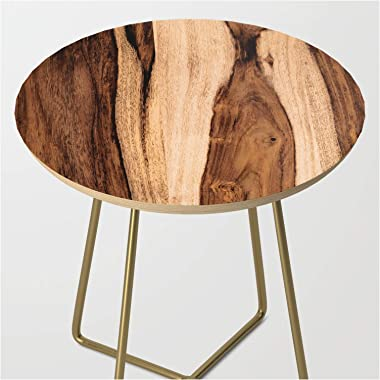 Sheesham Wood Grain Texture, Close Up by Forgottencotton on Side Table - Gold - Round