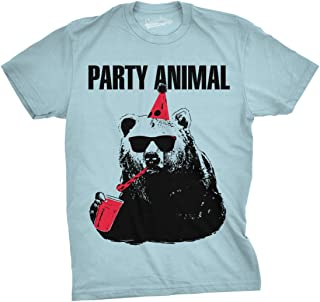 Mens Party Animal Funny Bear Tee Birthday Shirts Hilarious Party Time Novelty T Shirt