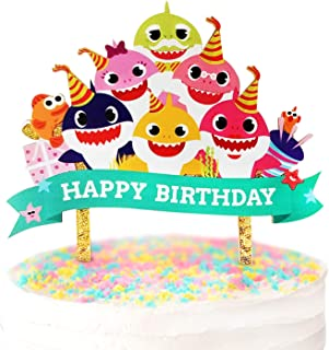 Reusable Baby Shark Cake Topper-One Of The Best Cute And Affordable Baby Shower Happy Birthday Party Supplies, Decorations on Cake or Cupcake for Any Gender-Perfect kitchen decor gift idea