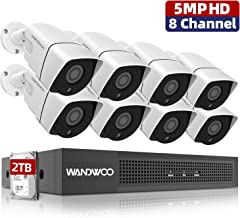 5MP 8 Channel PoE Security Camera System,Wandwoo Home Camera Systems with 2TB Hard Drive and 4Pcs 5MP(2592 x 1920P) Outdoor PoE IP Camera Video Surveillance System, Free App
