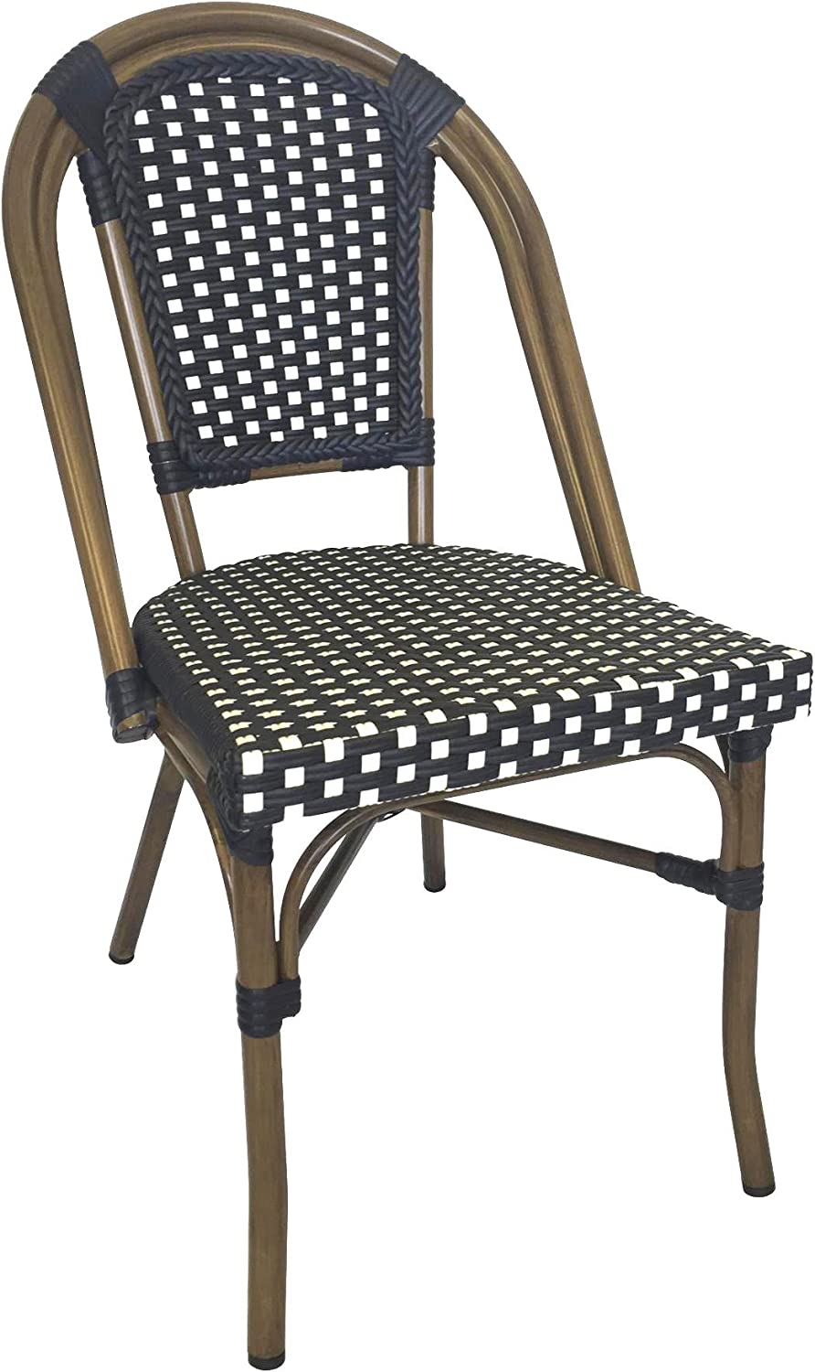 Table in a Bag CBCNW Faux Bamboo All-Weather Wicker Stackable Bistro Chair, Navy with White Accents