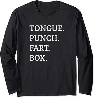 Tongue Punch Fart Box Funny Sexual Text Long Sleeve T-Shirt