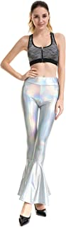 INDJXND Women Flare Shiny Leggings Metallic Mermaid Ruffle Bell Bottom Pants for Women Disco High Waist Legging