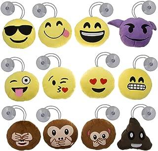 Bundle - 12pk Mini Emoji Hanging Plush Pillow Set Emoticons Cushion Toys Pack Smiley Poop Suction Cups