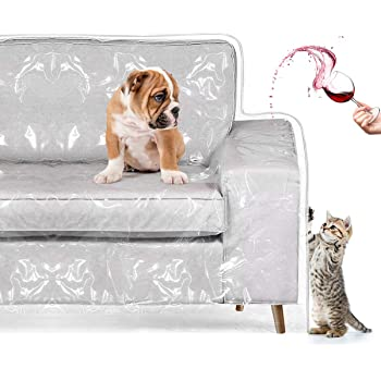 """Homemaxs Couch Cover, Cat Scratching Protector Heavy Duty Waterproof See-Through Plastic Slipcover for 2 Cushion Loveseat Furniture Protection from Pets, Cat, Spills, Moving Dust 96""""W×42""""BF×18""""FH×40"""""""