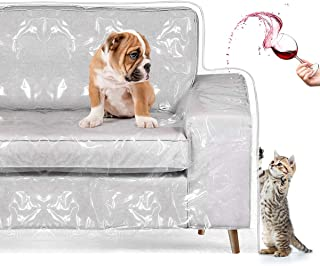 "Homemaxs Couch Cover, Cat Scratching Protector Heavy Duty Waterproof See-Through Plastic Slipcover for 2 Cushion Loveseat Furniture Protection from Pets, Cat, Spills, Moving Dust 96""W×42""BF×18""FH×40"""