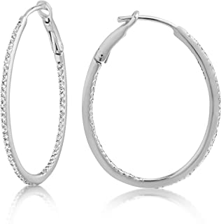 14K Gold and Genuine Diamond/Gemstone Women's Skinny Diamond Hoops Earrings, 1-1.5mm Thick x 25-52mm Diameters - Available in Various Gems and Colors