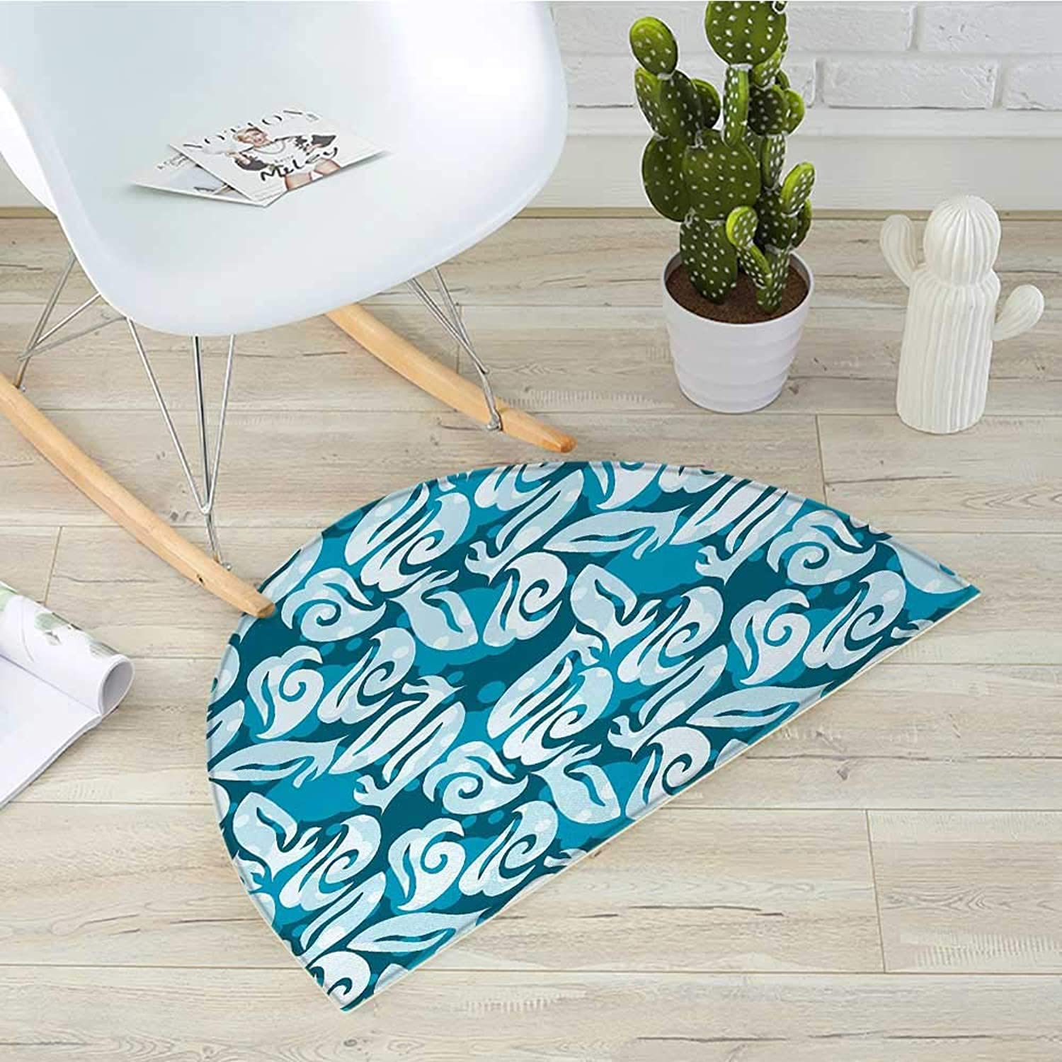 Abstract Semicircle Doormat Classic Abstract Shapes Shabby Fashion Marine Inspirations Artwork Halfmoon doormats H 43.3  xD 64.9  Petrol bluee Turquoise