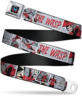 Retro Wasp Logo Black/White/Blue/Red Seatbelt Belt - THE WASP Retro Comic Scene Blocks Grays Webbing X-LARGE