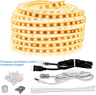 AMANEER LED Rope Lights, 50ft Flat Flexible Light Strip Warm White, 110V 2 Wire, 900 Units SMD 2835 LEDs,Connectable, Waterproof Indoor/Outdoor Use,Power Supply, Lighting for Any Locat