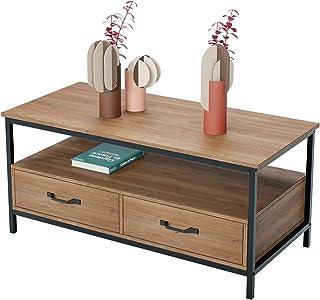 HOMECHO Table Basse avec 2 Tiroires Bidirectionnel Table de Salon Style Industriel de Bois et Métal Meuble TV pour Salon C...