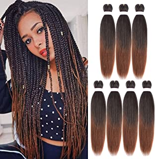 """Pre Stretched Braiding Hair 26"""" Yaki Texture ombre Braid Hair Extensions 7 Pcs/Lot Mixed Color Hot Water Setting Crochet T..."""