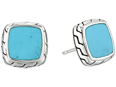 John Hardy Classic Chain Stud Earrings with Turquoise (Silver) Earring