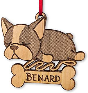 French Bulldog Engraved Wooden Ornament Sleeping Puppy Custom with Name Laser Etched Rustic Christmas Decor Dog Themed Home Decoration Holiday Items