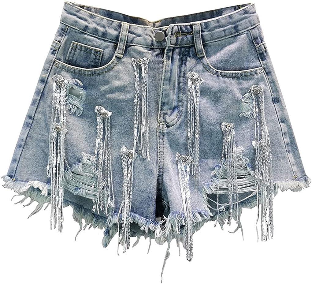 Women Loose High Waist Sequin Fringed Ripped Denim Shorts Women's Shorts