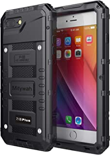Mitywah Shockproof Case Compatible with iPhone 7 Plus/8 Plus, Waterproof Full Body Protective Cover Built-in Screen Protection Armor Military Heavy Duty Metal Shell with Impact Resistant Bumpers,Black