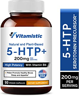 Vitamistic 5-HTP 200mg 90 Time-Release Veggie Caps, From Griffonia Seed Extract, Enhanced with Vitamin B6 for Improved Ser...