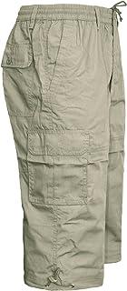 MENS ELASTICATED WAIST SUMMER COTTON SWIM BEACH CARGO COMBAT 3/4LONG SHORTS PANT[Beige ,XL]