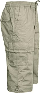MENS ELASTICATED WAIST SUMMER COTTON SWIM BEACH CARGO COMBAT 3/4LONG SHORTS PANT[Beige ,XXXL]