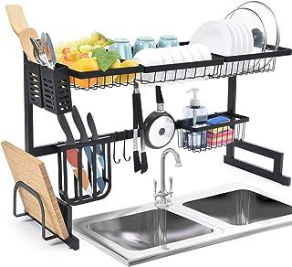 Escurreplatos Kingrack con 2 niveles de gran capacidad, estante organizador para fregadero con ganchos para utensilios de cocina, almacenamiento para platos, cuencos y ollas.
