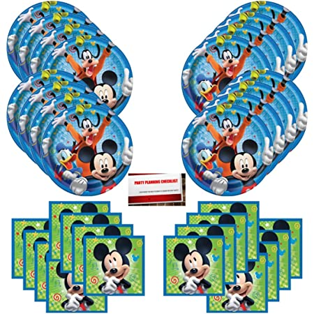 Mickey and Friends Party Supplies Birthday Dessert Plates Bundle Serves 24 Guests