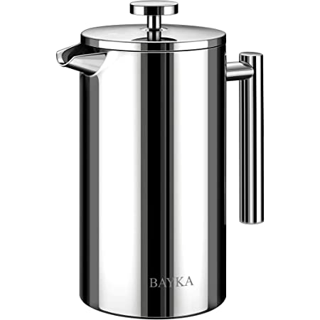 BAYKA French Press Coffee Maker, 304 Grade Stainless Steel with 4-Level Filtration Systems, 34Oz(1L) Coffee Press for Home Office, Dishwasher Safe, Silver