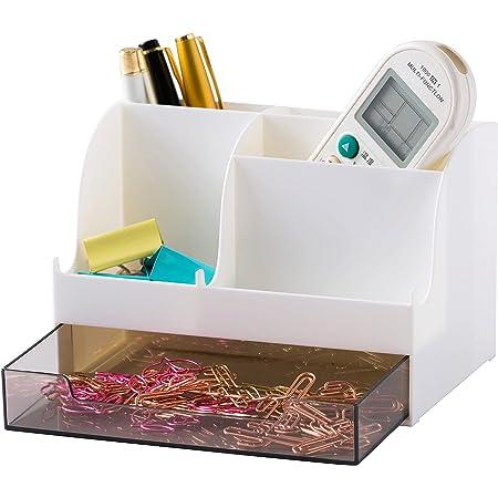 YOSCO Desktop Storage Organizer Mini Box Office Supplies for Pen Holder for Desk Tidy Pencil Cup Pot Makeup Phone Holder Desk Phone Stand (White)