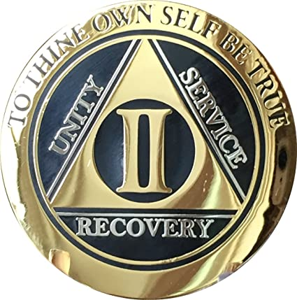 8 Year AA Medallion Pink Gold Plated Alcoholics Anonymous Sobriety Chip Coin