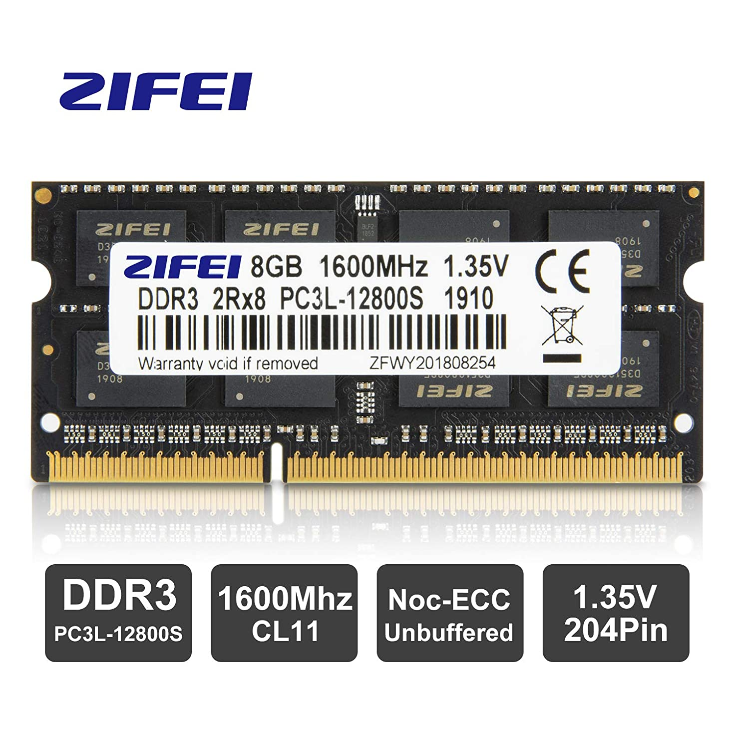ZIFEI ram Memory 8GB (1 x 8GB),DDR3 PC3L-12800,1600MHz 2Rx8 CL11 204-Pin SODIMM Module for laptops