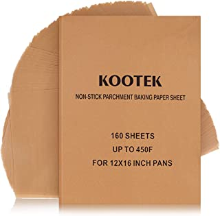 Kootek 160 Pcs Parchment Paper Sheets, 12 X 16 Inch Non-Stick Unbleached Baking Sheet Cooking Wax Papers, Pre-cut Square Liner for Grilling Air Fryer Steaming Cookie Cupcake Bakers