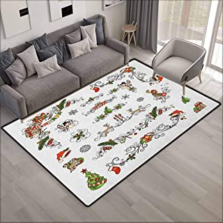Rectangular Rug,Kids Christmas Classic Celebration Elements with Scroll Details Festive Holiday Preparation,Ideal Gift for Children,4'7