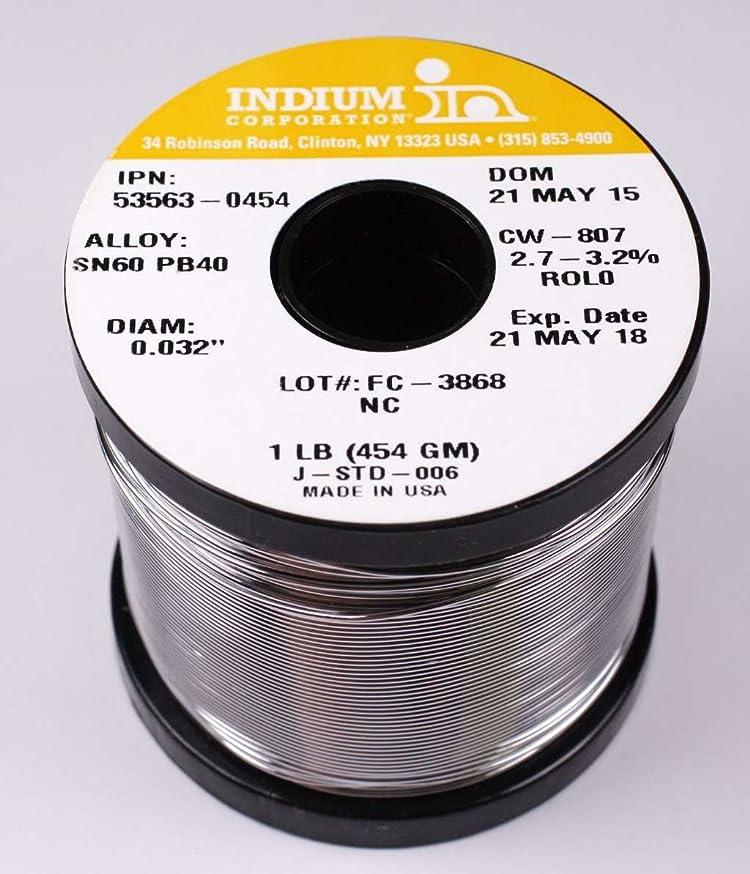 Indium 53563-0454 60/40 No Clean Wire Solder, 2.7-3.2% Core .032in. 1lb