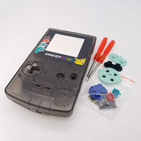 Full Housing Case Cover Housing Shell Replacement for Game boy Color GBC Shell Case with Buttons Kit (Clear Black+Colorful Buttons/Lens)