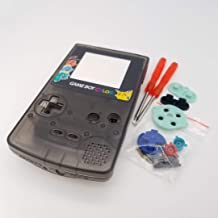 Full Housing Case Cover Housing Shell for Game boy Color GBC Shell Case with Buttons Kit (Black+Colorful Buttons/Lens)