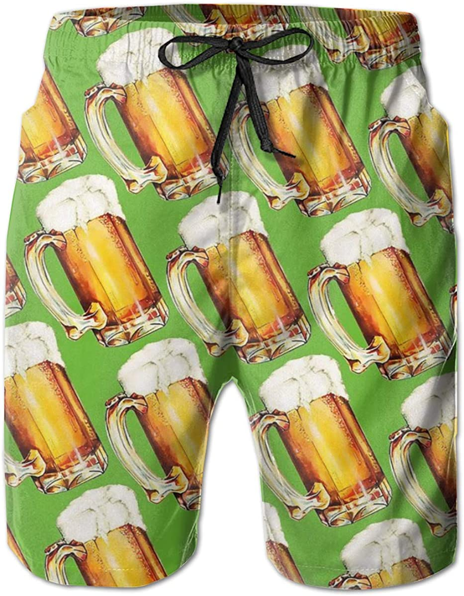 Yt92Pl@00 Mens 100% Polyester Bottle At the price of surprise Beer Comfor Popular popular Swim Trunks