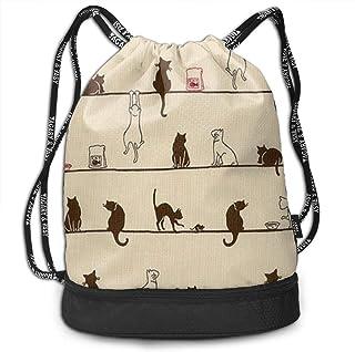 Lightweight Waterproof Large Storage Drawstring Bag for Men & Women - Cute Cat Eat On The Line Novelty Necktie Tie Choker Cinch Backpack Sackpack Tote Sack