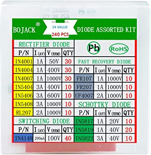 BOJACK 14 Value 240 pcs Diode Assortment Kit Contain Rectifier/Fast Recovery/Schottky/Switching Diode 1N4001 1N4004 1N4007...