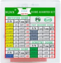 BOJACK 14 Value 240 pcs Diode Assortment Kit Contain Rectifier/Fast Recovery/Schottky/Switching Diode 1N4001 1N4004 1N4007 1N5404 1N5406 1N5408 RL207 FR107 FR207 UF4007 1N5817 1N5819 1N5822 1N4148