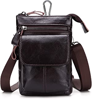 Haibeisi Fashion Unique Men's Waist Bag First Layer of Leather Multi-Function Business Package Leather Belted Mobile Phone Bag with Strap (Color : Brown, Size : M)