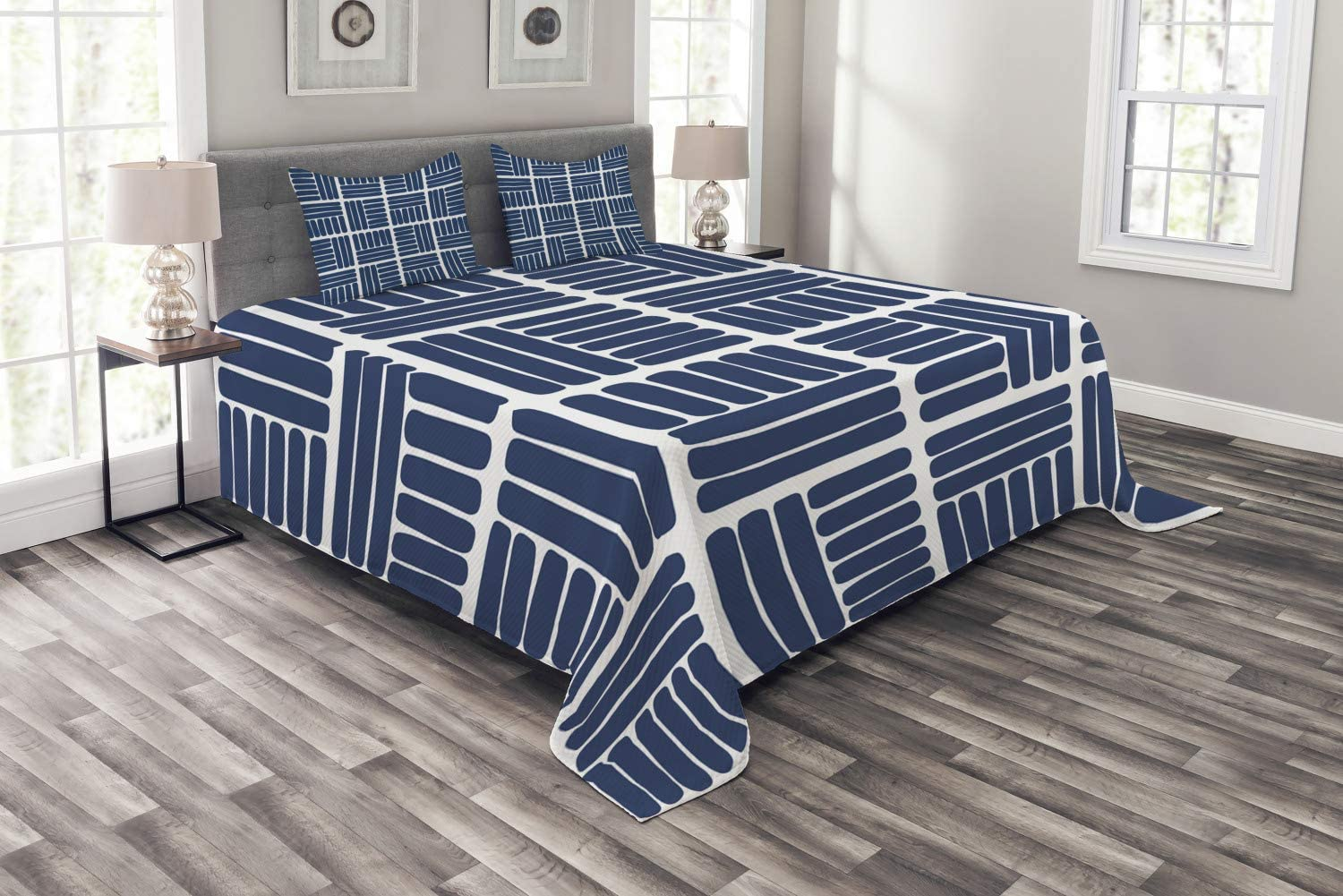 Ambesonne Geometric Bedspread Modern Stripes G Ranking TOP7 Shape Squares Sales for sale in