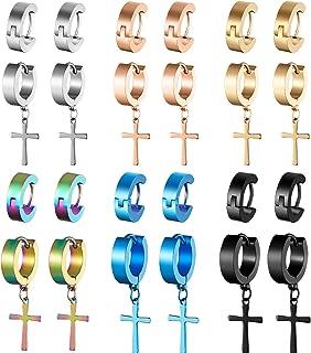 12 Pairs Stainless Steel Cross Earrings Cross Dangle Hoop Earrings Hinged Hoop Ear Jewelry for Men and Women Wearing (Style Set 1)