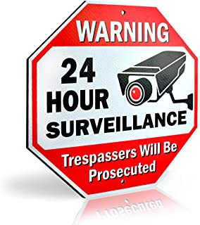 Signs Authority Reflective Warning 24 Hour Surveillance No Trespassing Metal Sign for Home Business Video Security CCTV Camera 12� by 12� Aluminum