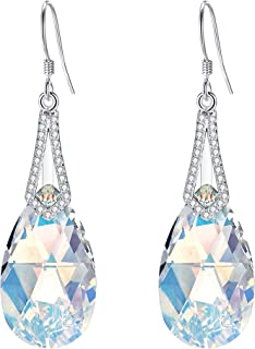 925 Sterling Silver CZ Teardrop Bridal Hook Dangle Earrings Made with Swarovski Crystals