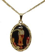 Diamantados of Florida Medalla Santa Muerte Ripper Angel de la Muerte La Santisima 18 K Chapado en Oro Medalla con Cadena de 56 cm