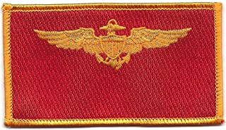 Aviaition Pilot Wings Gold Field Red Patch