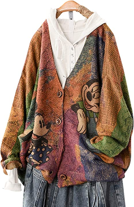 Mikey mouse Minnie mouse cool edgy sweater cardigan