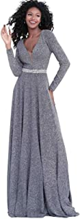 Jovani 62812 Vestido de línea A con Cuello en V Profundo con Purpurina metálica