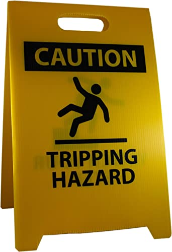 NMC FS36 CAUTION TRIPPING HAZARD Sign with Graphic - 12 in. x 19 in. Corrugated Plastic, Double-Sided Floor Sign with...