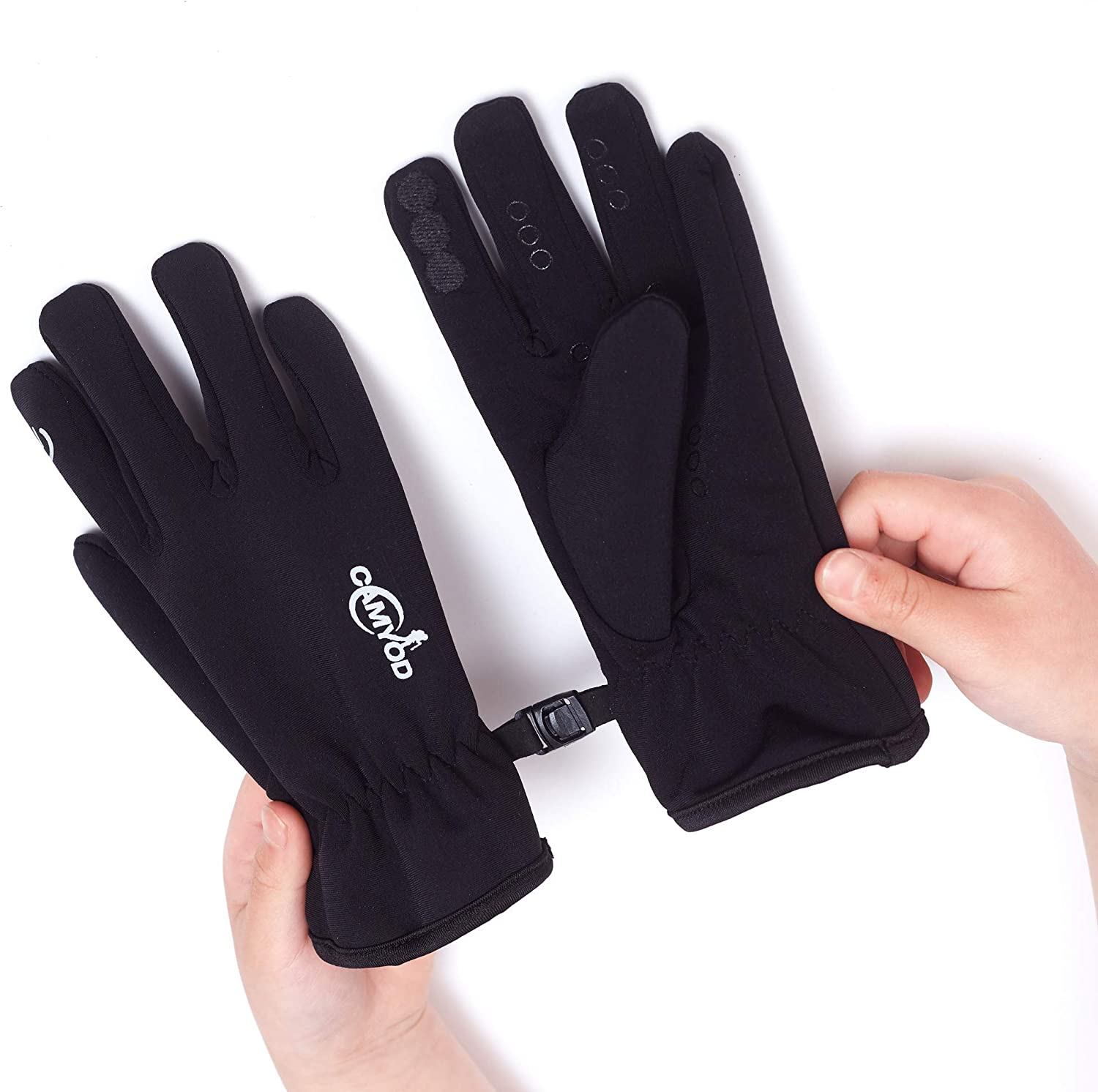 Kids Cold Weather Mitten Gloves Boys and Girls Fleece Liner Windproof Lightweight Softshell with Silicon Touch Screen Mittens